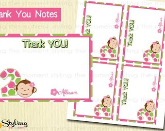 Pink Mod Monkey Thank You Notes