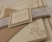 CUSTOM: Burlap and Lace Lovebirds Wedding Invitation Suite Coral & Mint (35)