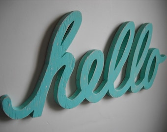 Hello sign shabby chic cottage chic distressed beach home decor