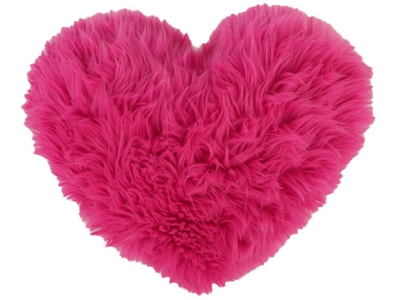 valentines gift hot pink faux fur heart shaped decorative pillow small size hot pink faux fur fabulousness way cuddly soft - Pink Decorative Pillows