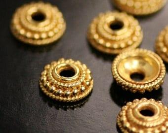 Authentic Bali Bead Caps, 24K Gold Vermeil, 10mm, Choose Quantity, V-74