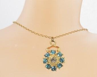 Beautiful Teal Rhinestone Vintage Jewelry Necklace