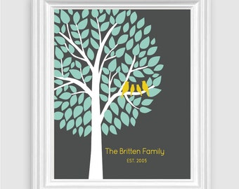 "Family Tree Love Birds Art Print, Personalized Name Home Decor Art, 8""x10"" or 11""x14"" Gray, Brown, Navy, Anniversary Birthday - Unframed"