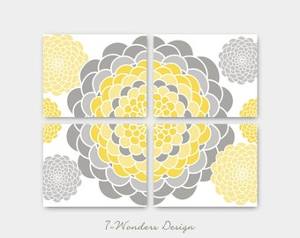 Geometric Mums Botanical Illustration Prints Set of (4) Many Sizes // Grey, Yellow, Brown, Blue, Teal, Seafoam // Modern Home Decor