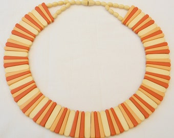 Vintage Egyptian Cleopatra Style Double-Sided Ivory Peach Coral Links Collar Necklace