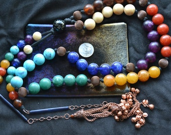 XL Matte Marble Lucite Charka Mala , Pagan Prayer Beads, Upcycle Vintage Beads