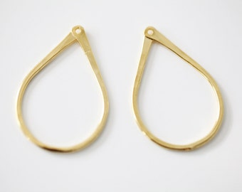 Vermeil Gold Teardrop Frame Earring Finding - 18k gold plated over sterling silver