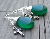 Sterling Silver Green Onyx Crystal Wire Wrapped Dangle Cross Earrings Christian Religious Jewelry
