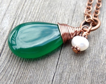 Copper Green Onyx wire wrapped pendant with freshwater pearl charm Handmade Jewelry Necklace