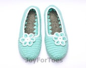 Women's Crochet Slippers, Crocheted house shoes, Slippers for the Home, Custom Order, Light Blue, Woman handmade shoes, Crochet Booties