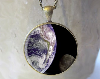Earth and Moon Necklace Jewelry, Fine Art Necklace Jewelry, Earth and Moon Photo Jewelry Glass Pendant Gift