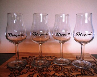 Set of 4 french liquor Cognac glasses marked Bisquit