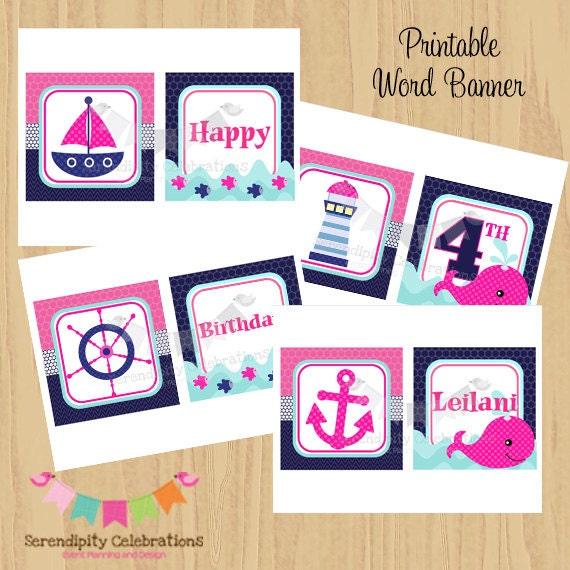 DIY Printable Banner Pink And Navy Nautical Birthday Word