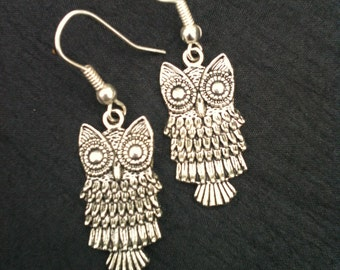Funky Retro Owl Earrings You Personalize Bronze or Silver