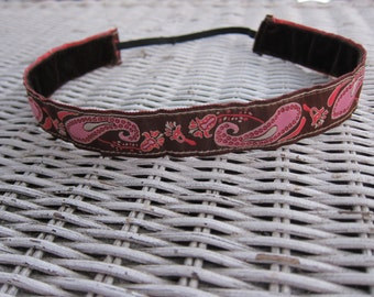Brown & Pink Paisley Headband - Womens Fashion Headband