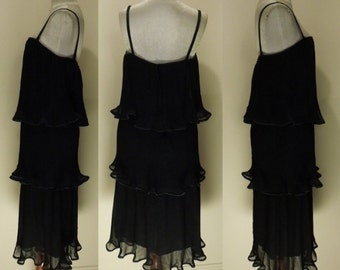 "Vintage ""Marcia June Sydney"" Black Pleated Chiffon Layered Dress 60's 70's"