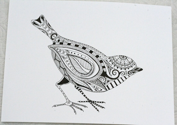 Bird Henna Tattoo Designs: Items Similar To Hand Drawn Henna Style Bird On Etsy