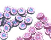 CLEARANCE SALE. Polymer clay beads, round flat beads in pink, purple, blue and white, flower shaped, two different sets of 20 each, total 4