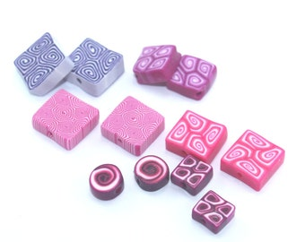Spiral beads, polymer clay mixed set of pinks and purples beads, set of 12 flat round and square beads