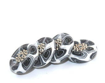 Polymer Clay black and white beads, unique set of round pressed elegant beads with spiral pattern, set of 4