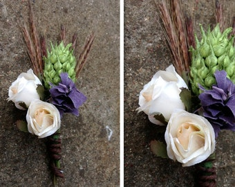 wheat rose made to order boutonniere or corsage.