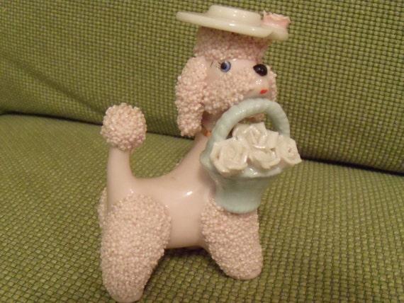 1950 S Pink Ceramic Poodle Figurine Classic Spaghetti