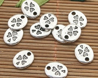 70pcs dark silver tone double-face leaf pendant h3742