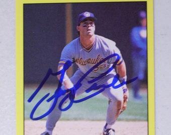 George Canale Autographed Baseball Card, Milwaukee Brewers, Vintage Fleer 578, 1991