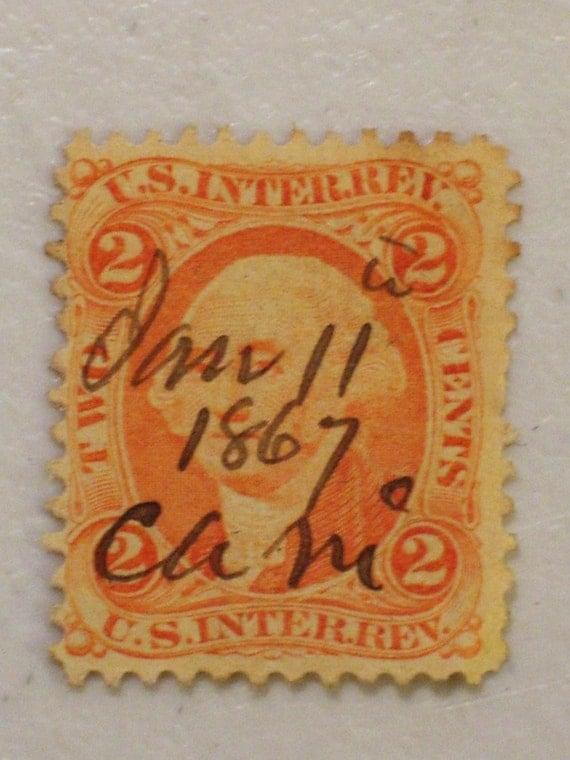 Antique Us Internal Revenue 2 Cent Stamp Scott R15 Orange