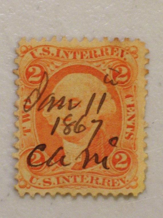 Antique Us Internal Revenue 2 Cent Stamp Scott By Funllectibles