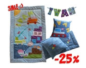 SALE -25% on Baby Boy Patchwork Blanket Custom Made Personalized Name Kids Room Decor