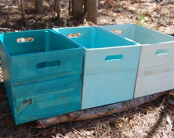 Wood Crates/ Pallet/ Wooden Crates/ Storage/ Turquoise Blue/ Reclaimed Wood