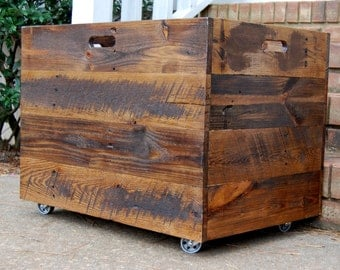 Tall Extra Large Wooden Crate/ Toy Chest/ Large Storage Box/ Office Decor