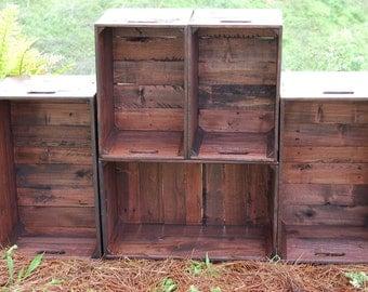 Set of Red Mahogany Wooden Crates / Wall Unit/ Bookcase / Apples Crates