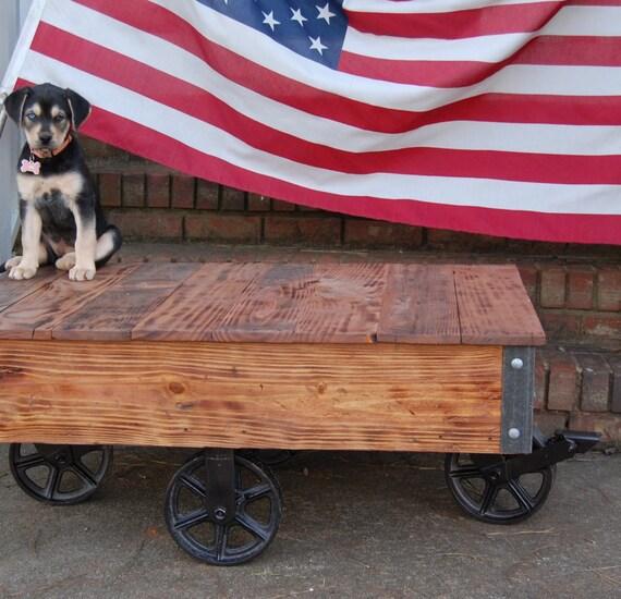 Vintage Industrial Cart Coffee Table: Vintage Style Industrial Cart / Coffee Table/Factory Cart