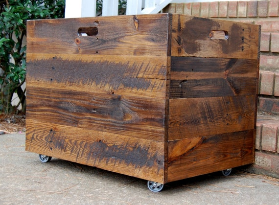 tall extra large wooden crate toy chest by looneybintradingco. Black Bedroom Furniture Sets. Home Design Ideas