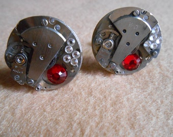 Watch Movement with Light Siam Crystals