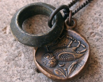Ancient Greek Solid Bronze Owl Necklace & Ethiopian Brass Rustic Boho