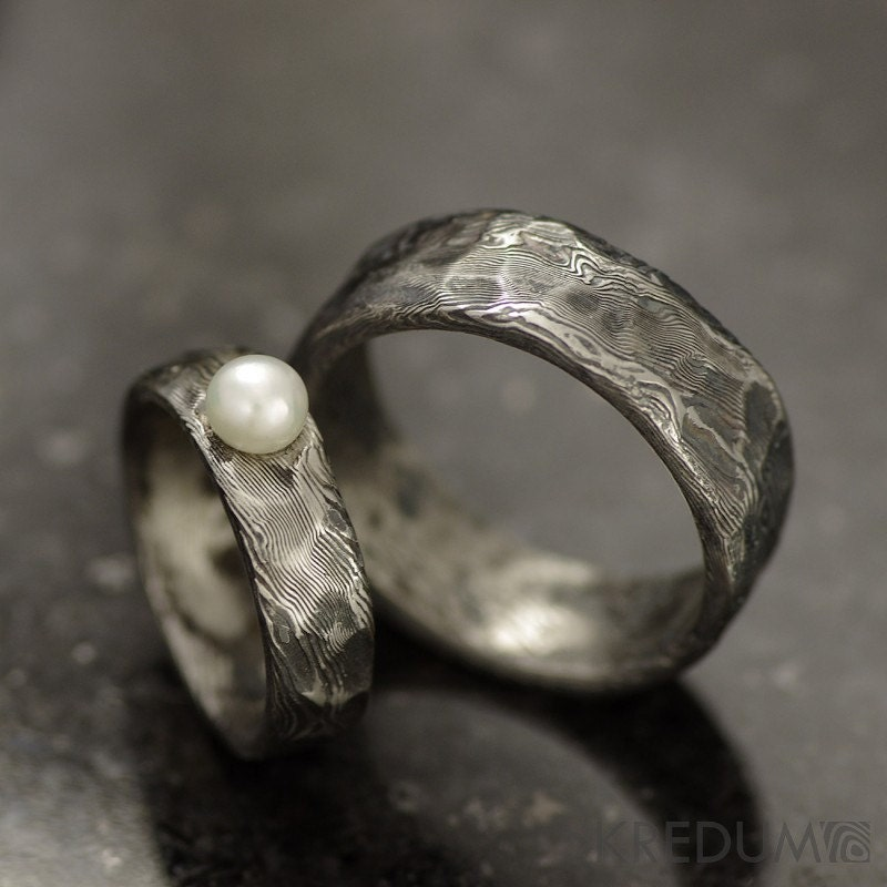 Hand Crafted Wedding Rings: Rustic Wedding Ring Engagement Ring Custom Stainless