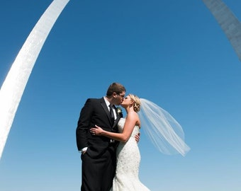 Fingertip lenth Wedding Veil - Single tier - Short Veil