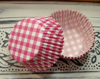 Cupcake Liners - Pink and White Gingham - 50 Piece