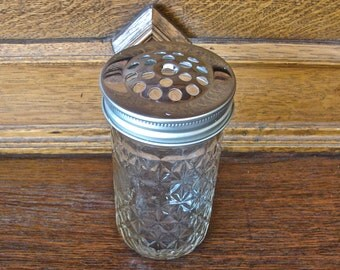 Handmade Mason Jar Shaker Set With12 oz Quilted Jar - Perfect for Parmesan Cheese Or Red Pepper