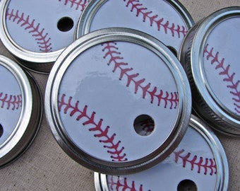 Baseballs - Party Mason Jar Lids - 6 Lids Only