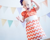 Orange and White Chevron Peasant Dress - JustSewStinkinCute