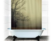 A Gathering of Fog - Fabric Shower Curtain  - Original Photograpy by RDelean Designs, fog, nature, forest, gray, morning, mist