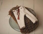 Cream Newborn Pants & Handknit Basket Stuffer Set Photography Prop