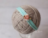 Blue Stretch Headband with Peach Silk Flower Photography Prop