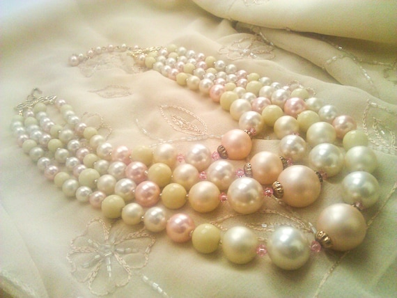 Four Strand Vintage Pearl Beaded Necklace with Pink Swarovski Crystal