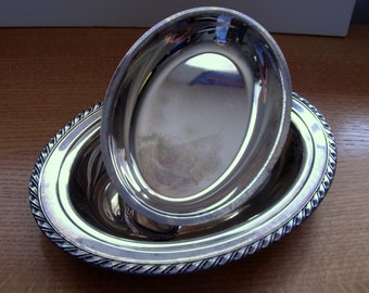 Wm Rogers Silverplate Double Vegetable Bowl