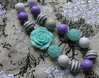 Lavender and Aqua Chunky Beaded Necklace, Children's Necklace, Baby Necklace, Beaded Gumball Necklace, Girls, Photo Prop, Birthday